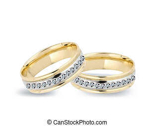 Gold wedding rings and diamonds. Vector - Gold wedding rings...