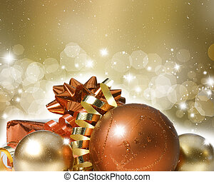 Christmas ornaments on decorative background - Colourful...