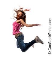 girl in headphones jumps over the floor of happiness