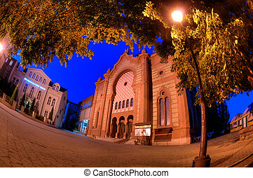Night of the old synagogue of Uzhgorod, Ukraine