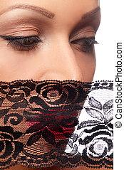 bonito, mulher, pretas, véu
