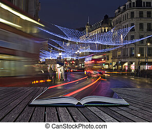 Creative concept of London Christmas lights coming out of...