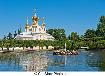 Grand palace, Petergof, Russia - Grand palace, Petergof,...