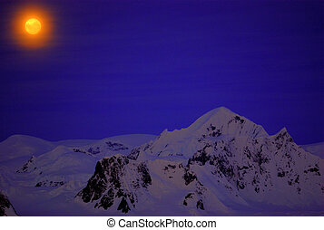 Moon on the dark blue sky of Antarctica - Moon on the dark...