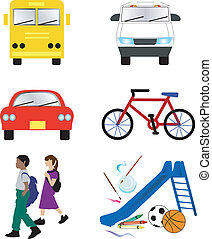 School Transportation Icons - Vector Illustration of 6...