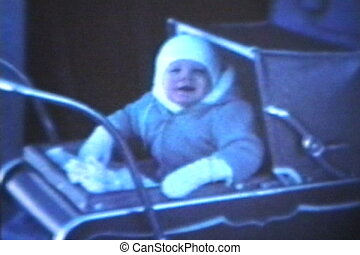 Baby In Pram 1963 - Vintage 8mm - A cute little baby boy...