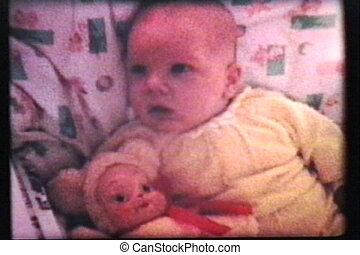 Baby With Dolly 1962 - Vintage - A cute little baby boy...