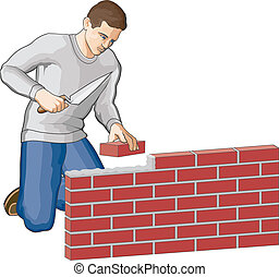 Bricklayer - Illustration of a man building a brick wall