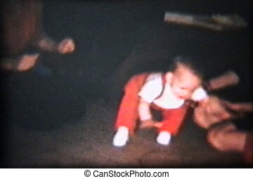 Boy Learning To Walk 1962 Vintage - A cute little baby boy...