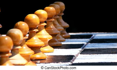 Chess Game First Move - Chess game in park , first move,...