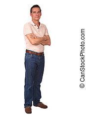 Full Length Portrait of Smiling Man - Full Length Portrait...