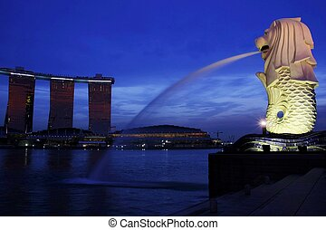 Singapore - View of Singapore landmarks of Merlion and...