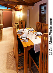 Dinning room - Retro dinning room interior with wooden table