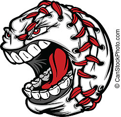Baseball Ball Cartoon Face Illustra - Cartoon Baseball with...
