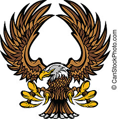 águia, asas, garras, mascote