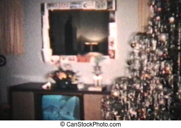 Christmas Scene 1960 - A shot of a living room that has been...