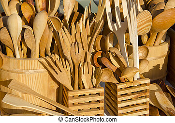 handmade wooden flatware at the summer fair