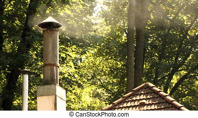 Chimney Woods Wide Shot - Old rusty chimney working full...