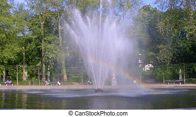 Rainbow fountain in Parc, Brussels - Rainbow fountain in...