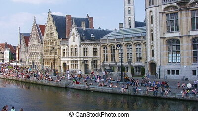 Medieval quayside, Ghent, Belgium - View of famous medieval...