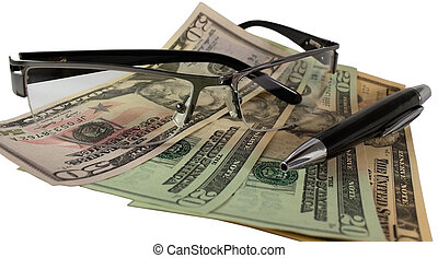Money, pen, glasses on white background
