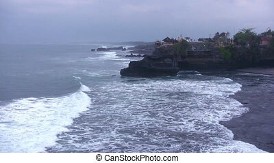 Ocean waves and old temple, Bali