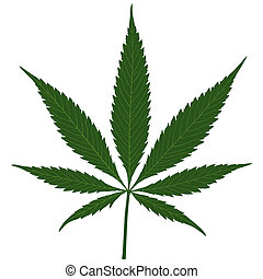 Hemp leaf - Marijuana (Cannabis) - Hemp leaf illustration,...