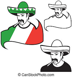 Mexican man - colored illustration, vector