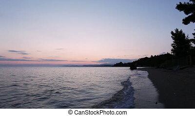 Mediterranean sea beach at sunset - Mediterranean sea beach...