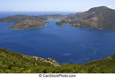 Ithaki island at ionian sea in Greece