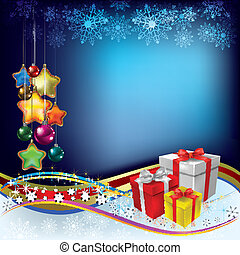 Abstract Christmas greeting with gifts and decorations on...