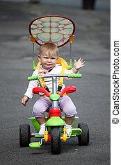 poco, bebé, niña, bicicleta