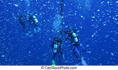 Divers on stop after Zenobia dive - Divers on 5 min stop...