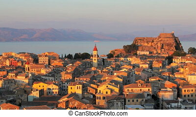 Kerkyra old city at sunset, Corfu