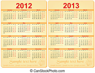 Set of 2012 and 2013 Calendar