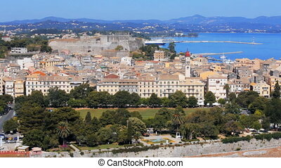 Kerkyra old city at day, Corfu - Aerial view from Old...