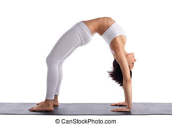 young woman in yoga asana - bridge pose isolated - young...