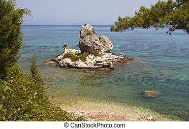 panorâmico, praia, Poros, Kefalonia