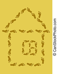 Small house from traces on sand - The abstract image: a...