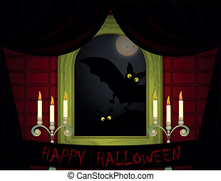 halloween background - room with window shades, candles and...