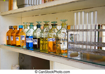 Biochemical laboratory - Chemical reactants in glass...