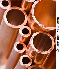 Copper pipes of different diameter - Set of copper pipes of...