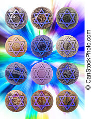 balls - Twelve balls of jewels with Star of David