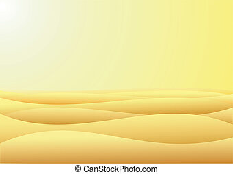 Desert - Warm day in barren desert with yellow sand and sky