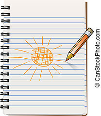 notepad with pencil drawning the sun