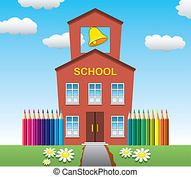 school - vector illustration of school house