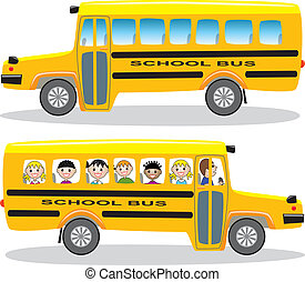 school buses - vector school buses with children and empty