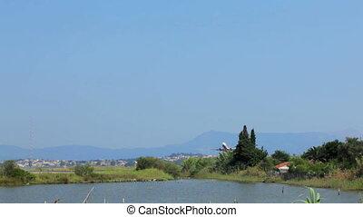 Take-off of Airberlin airplane in Corfu, Greece. Tripod...