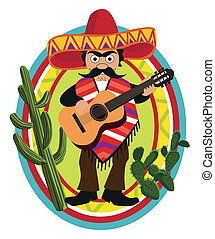Mexican Musician  - Frame with a Mexican playing his guitar