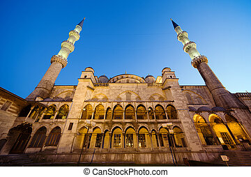 Blue Mosque at Evening - Sultan Ahmet Mosque architecture...